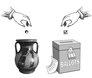 hands dropping ballot tokens in urn